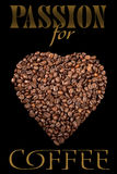 L'affiche avec des grains de café Photos libres de droits