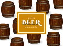 L'affiche de bière de vecteur avec le chêne barrels le calibre Image stock
