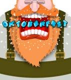 L'affiche de cri pour l'homme fâché et agressif d'Oktoberfest crie r illustration libre de droits