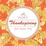 L'affiche de jour de thanksgiving avec l'érable et le chêne laisse des feuilles Photographie stock libre de droits
