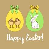 L'affiche de Pâques avec chiken, lapin et oeufs Photos stock