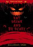 L'affiche de partie de Halloween mangent la boisson et soient effrayante Image stock