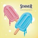 L'affiche de vecteur d'été, deux bâtons de crème glacée fondent sur le fond jaune Photos libres de droits