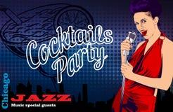 L'affiche de vintage avec le vecteur de chanteur et de cocktail de femme conçoivent le calibre illustration de vecteur