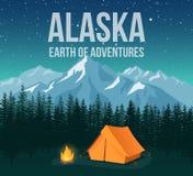 L'affiche de vintage de voyage de faune de parc national de l'Alaska avec des montagnes et les pins dirigent l'illustration Photos libres de droits