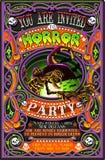 L'affiche invitent pour la partie de Halloween avec la sorcière Photographie stock