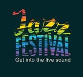 L'affiche pour le festival de jazz avec l'arc-en-ciel colore le texte Photos stock