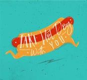 L'affiche prennent à hot-dog avec vous la turquoise Image libre de droits