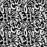 L'affiche sans couture d'alphabet, sèchent le calligra moderne artistique d'encre de brosse Photos libres de droits