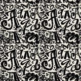 L'affiche sans couture d'alphabet, sèchent moderne artistique d'encre de brosse Photo stock