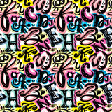 L'affiche sans couture d'alphabet, sèchent moderne artistique d'encre de brosse Images stock