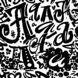 L'affiche sans couture d'alphabet, sèchent moderne artistique d'encre de brosse Images libres de droits