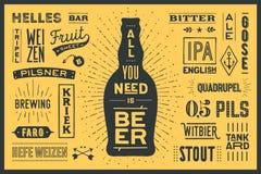 L'affiche toute que vous avez besoin est bière Photos stock