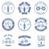 L'affitto grasso della bici Badges e gli elementi di progettazione delle etichette Vettore Fotografia Stock Libera da Diritti