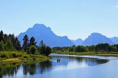 L'affluenza della curvatura di Oxbow in grande Teton Fotografia Stock