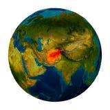 L'Afghanistan a accentué sur le globe Image stock