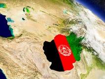 L'Afghanistan avec le drapeau incorporé sur terre Images stock