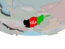 L'Afghanistan avec le drapeau sur le globe Image stock