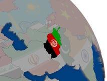 L'Afghanistan avec le drapeau sur le globe Image libre de droits