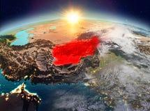 L'Afghanistan de l'espace dans le lever de soleil Illustration Stock