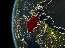 L'Afghanistan de l'espace la nuit Images libres de droits