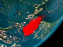L'Afghanistan de l'espace la nuit Photographie stock