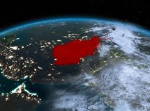 L'Afghanistan de l'espace la nuit Images stock