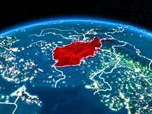 L'Afghanistan de l'espace la nuit Photo stock