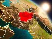 L'Afghanistan de l'espace pendant le lever de soleil Photographie stock
