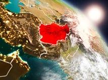 L'Afghanistan de l'espace pendant le lever de soleil Images stock