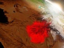 L'Afghanistan de l'espace accentué en rouge Photos libres de droits