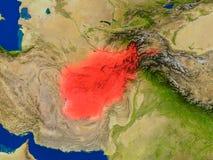 L'Afghanistan de l'espace en rouge Photo stock