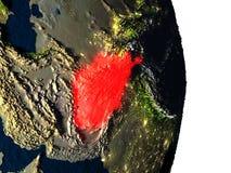 L'Afghanistan de l'espace pendant le crépuscule Photographie stock libre de droits