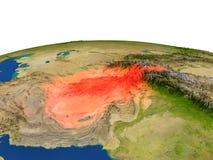 L'Afghanistan en rouge d'orbite Photo libre de droits