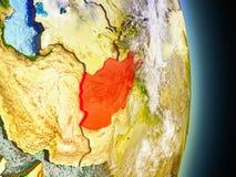 L'Afghanistan en rouge de l'espace Image stock