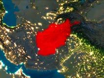 L'Afghanistan en rouge la nuit Photo libre de droits