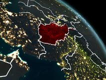 L'Afghanistan en rouge la nuit Image stock