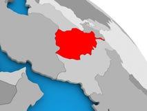 L'Afghanistan en rouge sur la carte Photo libre de droits