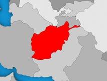 L'Afghanistan en rouge sur le globe Photographie stock