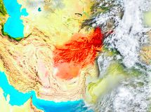 L'Afghanistan en rouge sur terre Photographie stock