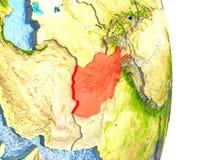 L'Afghanistan en rouge sur terre Image libre de droits