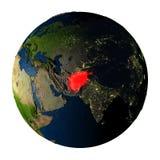 L'Afghanistan en rouge sur terre d'isolement sur le blanc Photo libre de droits