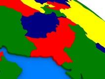 L'Afghanistan et le Pakistan sur le globe 3D coloré Photos libres de droits