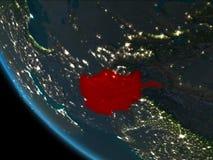 L'Afghanistan la nuit d'orbite Images libres de droits