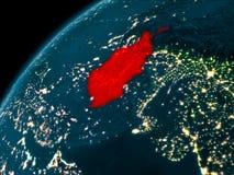 L'Afghanistan la nuit sur terre Images stock