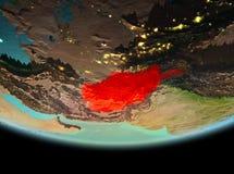 L'Afghanistan la nuit sur terre Image stock