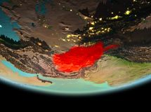 L'Afghanistan la nuit sur terre Illustration Stock