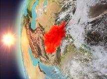 L'Afghanistan pendant le coucher du soleil de l'espace Image stock