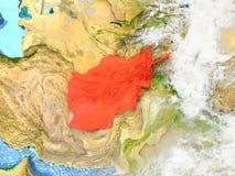 L'Afghanistan sur la carte avec des nuages Photo libre de droits