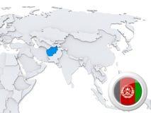 L'Afghanistan sur la carte de l'Asie Illustration Libre de Droits